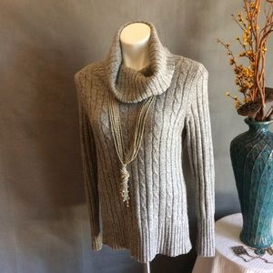 NEW YORK & CO GRAY SPARKLE COWL NECK SWEATER MED